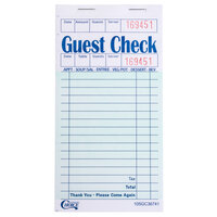 Choice 1 Part Green and White Guest Check with Beverage Lines and Top Guest Receipt - 50 Books / Case