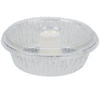 D&W Fine Pack D62 10 inch Aluminum Foil Angel Food Pan with Clear Dome Lid   - 10/Pack