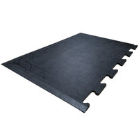 Cactus Mat 2500-RE36 Comfort Zone 2' x 3' Black Interlocking Center Anti-Fatigue Mat - 1/2 inch Thick