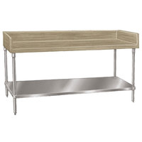 Advance Tabco BS-304 Wood Top Baker's Table with Stainless Steel Undershelf - 30 inch x 48 inch