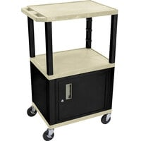 Luxor / H. Wilson WT2642OWC2E Putty Tuffy Two Shelf Adjustable Height A/V Cart with Locking Cabinet - 18 inch x 24 inch
