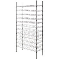 Regency 14 inch x 36 inch 12 Shelf Wire Wine Rack with 74 inch Posts - 96 Bottle Capacity
