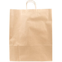 Towner Natural Kraft Paper Shopping Bag with Handles 16 inch x 6 inch x 19 inch - 200 / Bundle