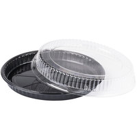 Genpak 55C10 Bake 'N Show Dual Ovenable Round Shallow Pizza / Cookie Pan with Lid - 10/Pack