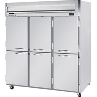Beverage Air HFS3-5HS 3 Section Solid Half Door Reach-In Freezer - 74 cu. ft., Stainless Steel Front, Gray Exterior, Stainless Steel Interior