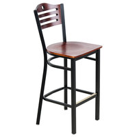 Lancaster Table & Seating Mahogany Finish Bar Height Bistro Chair - Eagle Back