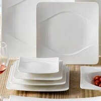 CAC MDN-7 Modern 7 1/2 inch New Bone White Square Porcelain Plate - 36/Case
