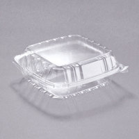 Dart Solo C90PST1 8 5/16 inch x 8 5/16 inch x 3 inch ClearSeal Hinged Lid Plastic Container - 250/Case
