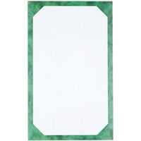 8 1/2 inch x 14 inch Green Menu Paper - Angled Marble Border - 100/Pack