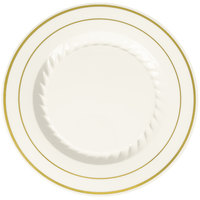 Fineline Silver Splendor 507-BO 7 inch Bone / Ivory Plastic Plate with Gold Bands - 150 / Case