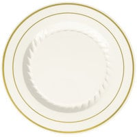"Fineline Silver Splendor 507-BO 7"" Bone / Ivory Plastic Plate with Gold Bands - 150/Case"