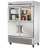 True T-49-2-G-2 55 inch Combination Half Door Reach In Refrigerator with Glass Top Doors and Solid Bottom Doors