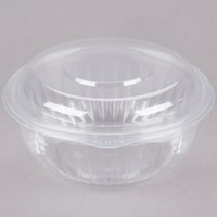 Dart Solo C32HBD PresentaBowls 32 oz. Clear Hinged Plastic Bowl with Dome Lid - 150 / Case