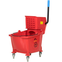 Lavex Janitorial 36 Qt. Red Mop Bucket & Wringer Combo