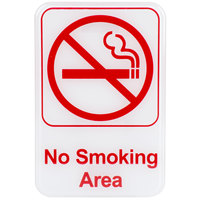 9 inch x 6 inch Red and White No Smoking Area Sign