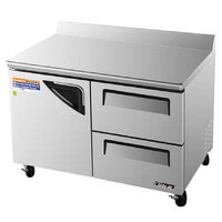 Turbo Air TWR-48SD-D2 48 inch Super Deluxe One Door, Two Drawer Worktop Refrigerator - 12 Cu. Ft.