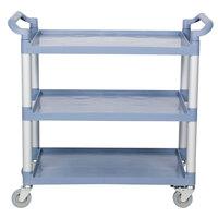 40 1/2 inch x 19 3/4 inch x 37 7/8 inch Gray Three Shelf Utility Cart / Bus Cart