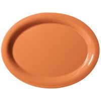 GET OP-135-PK Pumpkin Diamond Harvest 13 1/2 inch x 10 1/4 inch Oval Platter - 12/Case