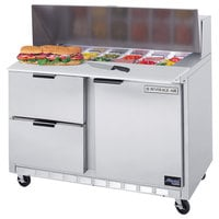 Beverage Air SPED48-08C-2 48 inch Refrigerated Salad / Sandwich Prep Table with 1 Door, 2 Drawers and 17 inch Wide Cutting Board