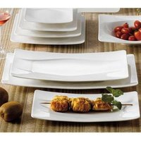 CAC MDN-51 Modern 15 1/2 inch x 8 1/4 inch New Bone White Rectangular Porcelain Platter - 12 / Case