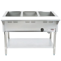 APW Wyott GST-3 Champion Liquid Propane Open Well Three Pan Gas Steam Table - Galvanized Undershelf and Legs