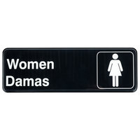 Tablecraft 394567 9 inch x 3 inch Black and White Women / Damas Sign