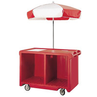 Cambro Camcruiser CVC55158 Hot Red Vending Cart with Umbrella, 1 Counter Well, and 2 Storage Compartments