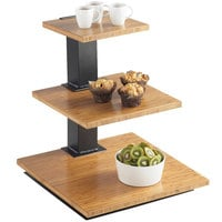 Cal-Mil 1930-60 Elevation 3 Tier Black Riser Frame with Bamboo Shelves