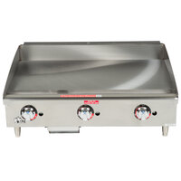 Star Max 636TSPF 36 inch Thermostatic Control Gas Countertop Griddle with Safety Pilot - 84,900 BTU