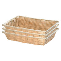 Tablecraft 1189W 16 inch x 11 1/4 inch x 3 1/8 inch Rectangular Woven Rattan-Like Basket - 3/Pack