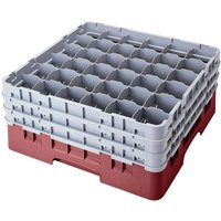 Cambro 36S534163 Red Camrack 36 Compartment 6 1/8 inch Glass Rack
