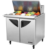 Turbo Air TST-36SD-15 36 inch Super Deluxe Stainless Steel Mega Top Refrigerated Salad / Sandwich Prep Table with Two Doors and Deluxe Shelving