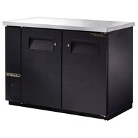 True TBB-24-48FR 49 inch Black Narrow Food Rated Back Bar Refrigerator with Two Solid Doors