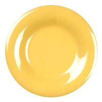6 1/2 inch Yellow Wide Rim Melamine Plate - 12/Pack