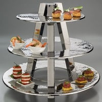 American Metalcraft TTS2319 3 Tier Display Stand - Hammered Stainless Steel