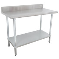 "Advance Tabco KMSLAG-245-X 24"" x 60"" 16 Gauge Stainless Steel Work Table with Undershelf and Backsplash"
