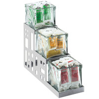 Cal-Mil 1604-55 Squared Stainless Steel Three Jar Display - 4 inch x 12 inch x 7 1/4 inch