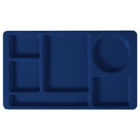 Cambro 915CW186 Camwear (2 x 2) 8 3/4 inch x 15 inch Navy Blue Six Compartment Serving Tray - 24/Case