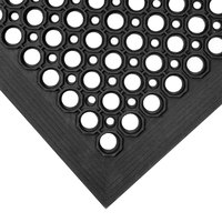 Teknor Apex 755-100 T30 Competitor 3' x 5' Black Anti-Fatigue Rubber Floor Mat with Bevel Edge - 1/2 inch Thick