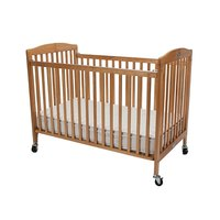 L.A. Baby CS-983 28 inch x 52 inch Natural Wood Folding Crib
