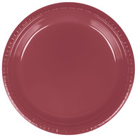 Creative Converting 28312221 9 inch Burgundy Plastic Dinner Plate - 20 / Pack