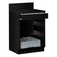 24 inch Black Waitress Station with Drawer and 4 Adjustable Stainless Steel Rack Holders
