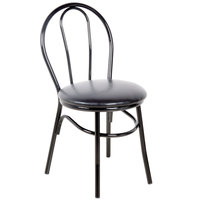 Lancaster Table & Seating Black Hairpin Cafe Chair with 1 1/4 inch Padded Seat