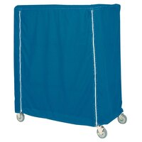 Metro 24X60X74CMB Mariner Blue Coated Waterproof Vinyl Shelf Cart and Truck Cover with Zippered Closure 24 inch x 60 inch x 74 inch