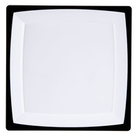 "WNA Comet MS10WTUX 9 1/4"" Square Milan Tuxedo Plastic Plate - 120/Case"