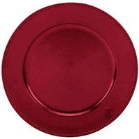 Tabletop Classics TRR-6655 13 inch Red Round Acrylic Charger Plate with Beaded Rim