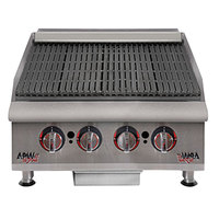 APW Wyott HCRB-2424i Natural Gas 24 inch HD Cookline Lava Rock Charbroiler - 80,000 BTU