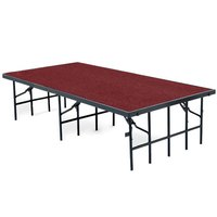 National Public Seating S3616C Single Height Portable Stage with Red Carpet - 36 inch x 96 inch x 16 inch