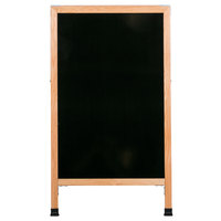 Aarco 42 inch x 24 inch Oak A-Frame Sign Board with Black Marker Board