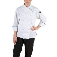 Chef Revival LJ008-S Chef-Tex Size 4 (S) Customizable Poly-Cotton Ladies Corporate Jacket with Black Piping